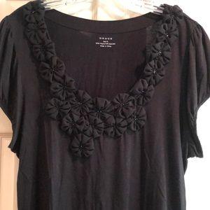 Grace size XL blk decorative embellished  T shirt